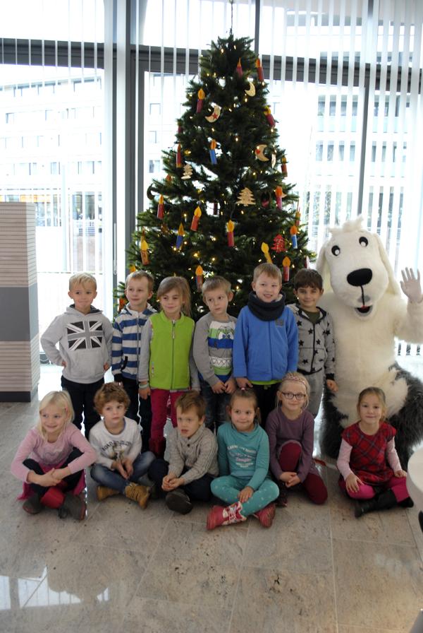 Kindergärten schmückten die Weihnachtsbäume in der Volksbank Kleverland