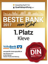 """Volksbank Kleverland eG erneut """"Beste Bank vor Ort"""""""